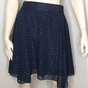 Joe Fresh Textured Polka Dot Navy Blue Skirt
